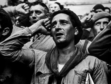 Robert Capa – Soldiers at farewell ceremony for the International Brigades. Les Masies, Spain, 1938